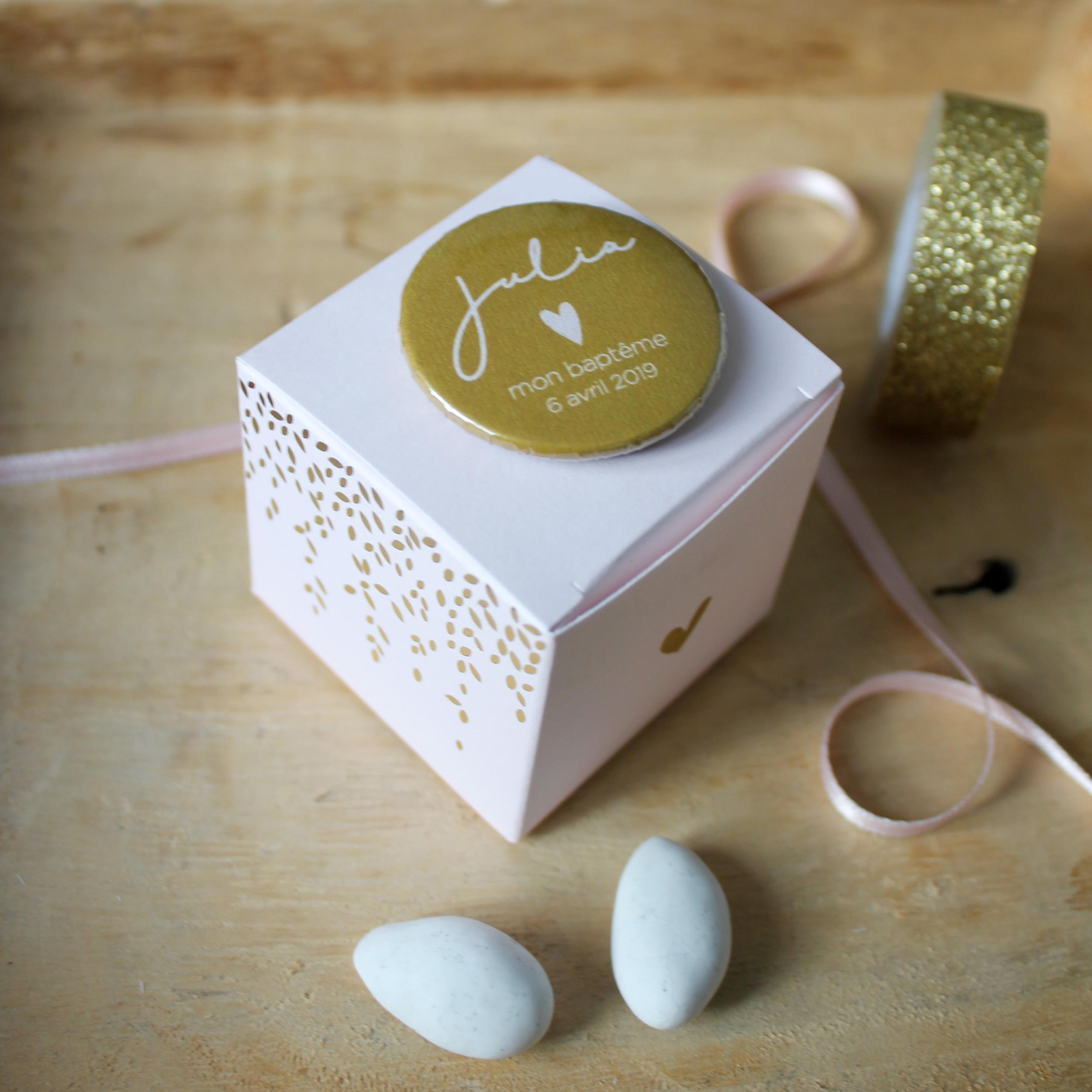 Boîte à dragées Rose et Or (Cadeau invite : baptême-communion-anniversaire-mariage...)