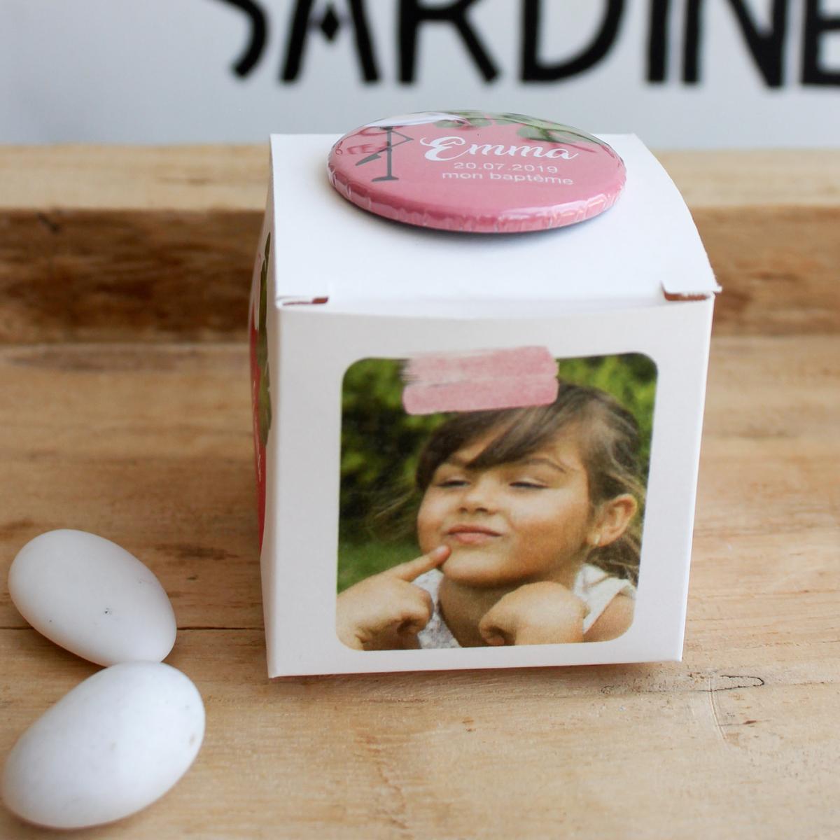 Boîte à dragées Flamant Rose - contenant personnalisé avec photo