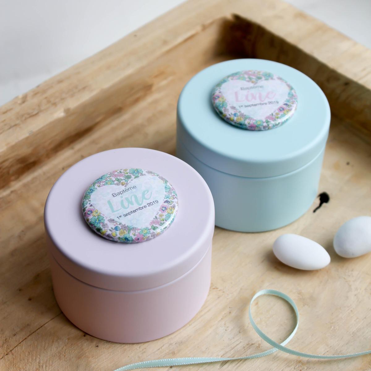 Duo de boîtes à dragées métal Pink and Mint