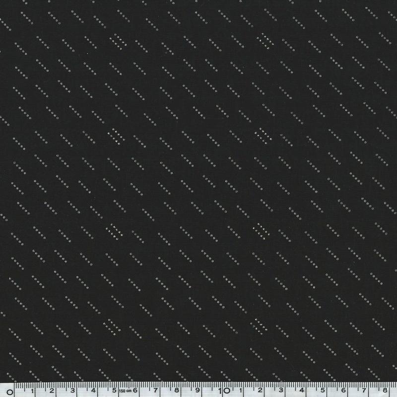 Cr pe lisse noir motif blanc cass et dor 20 x 140 cm mati res cr pe de polyester motif - Motif noir et blanc ...