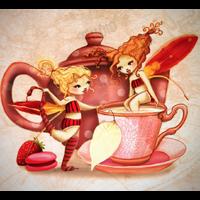 Coupon Buvons le thé Chère amie par Laure Phelipon 25 x 34 cm (popeline)