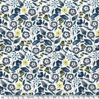 Liberty Bobo bleu et moutarde coloris A 20 x 137 cm