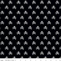Tissu Military Max têtes de mort fond noir 20 x 110 cm