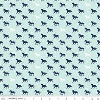 Tissu Derby Style chevaux fond bleu clair 20 x 110 cm