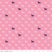 Tissu Derby Style chevaux fond rose 20 x 110 cm