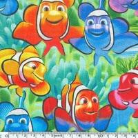 Tissu Multico poissons clowns 20 x 110 cm