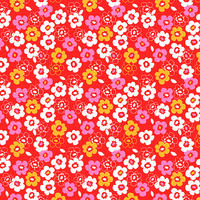 Tissu Secret Garden petites fleurs fond rouge 20 x 110 cm