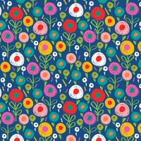 Tissu Secret Garden petites fleurs fond bleu 20 x 110 cm