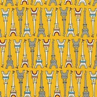 Tissu Oui Oui Paris Tour Eiffel fond jaune 20 x 110 cm