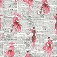 DERNIER COUPON Tissu City chic Mode et journal 30 x 110 cm