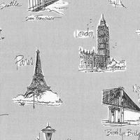 Tissu City chic Les grandes villes fond gris 20 x 110 cm