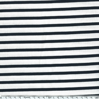 Jersey rayé fond écru rayures coloris marine 20 x 150 cm