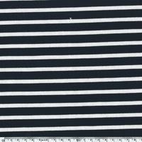 Jersey rayé fond marine rayures coloris écru 20 x 150 cm