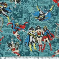 COUPON Tissu Marvel Wonder woman fond bleu 1m x 110 cm