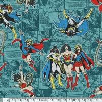 COUPON Tissu Marvel Wonder woman fond bleu 1m x 110 cm
