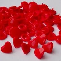 30 pressions KAM résine coeurs taille 20 coloris rouge