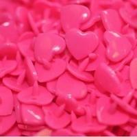 30 pressions KAM résine coeurs taille 20 coloris rose vif