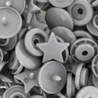 30 pressions KAM résine étoiles taille 20 coloris gris argent