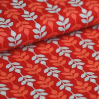 Tissu enduit Lasting Leaves rouge 20 x 145 cm