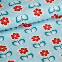 Tissu enduit Whoopsy Daisy bleu 20 x 145 cm