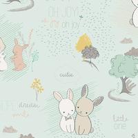 Tissu Littlest Furry Tales Minty 20 x 110 cm