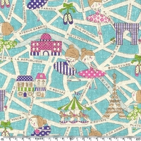 Tissu Danseuses Parisiennes coloris bleu 20 x 110 cm