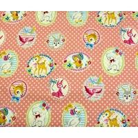 Tissu Portrait d'Animaux coloris rose 20 x 110 cm