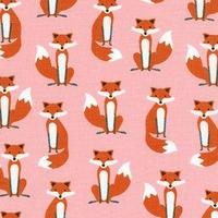 DERNIER COUPON Tissu Fabulous Foxes Mini Renards coloris rose 80 x 110 cm