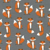 DERNIER COUPON Tissu Fabulous Foxes Mini Renards coloris gris 90 x 110 cm