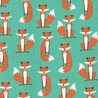 Tissu Fabulous Foxes Mini Renards coloris menthe 20 x 110 cm