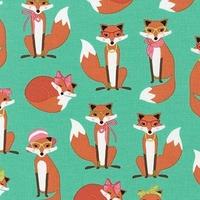 Tissu Fabulous Foxes Madame Renarde coloris menthe 20 x 110 cm