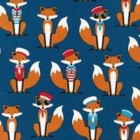 Tissu Fabulous Foxes Renard Marin coloris marine 20 x 110 cm