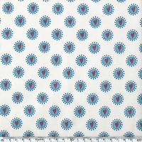 Toile enduite Rond Bleu Coeur Rouge 20 cm x 130 cm