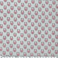 Toile enduite chouettes roses fond gris 20 cm x 130 cm