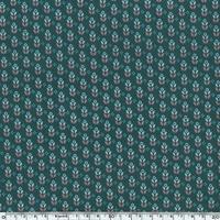 Toile enduite mini fleurs fond vert sapin 20 cm x 130 cm