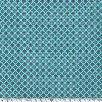 Toile enduite coeurs fond turquoise 20 cm x 130 cm