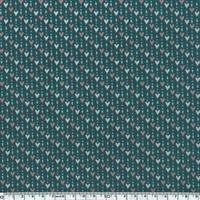 Toile enduite mini coeurs fond vert sapin 20 cm x 130 cm