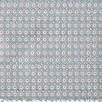 Toile enduite fleurs rose bleu fond gris 20 cm x 130 cm