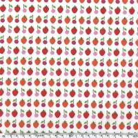 Toile enduite cerises et fraises fond blanc 20 cm x 130 cm