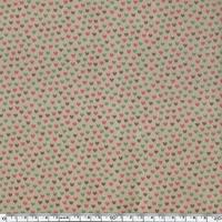 Toile enduite mini coeurs rose vert maron fond sable 20 cm x 130 cm