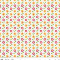 Tissu Summer Song 2 Marguerites fond blanc 20 cm x 110 cm