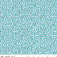 Tissu Summer Song 2 Pétales fond bleu 20 cm x 110 cm