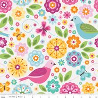 Tissu Summer Song 2 Fleurs Oiseaux et Papillons fond blanc 20 cm x 110 cm