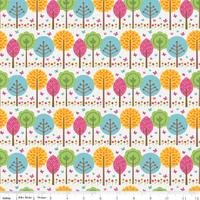 Tissu Summer Song 2 Arbres fond blanc 20 cm x 110 cm