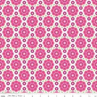 DERNIER COUPON Tissu Summer Song 2 Floral coloris rose 45 cm x 110 cm