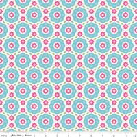 Tissu Summer Song 2 Floral coloris bleu 20 cm x 110 cm