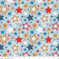 Tissu Lucky Star Grandes Etoiles fond bleu 20 cm x 110 cm