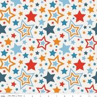 Tissu Lucky Star Grandes Etoiles fond blanc 20 cm x 110 cm