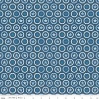 Tissu Lucky Star Cercle Etoilé coloris marine 20 cm x 110 cm