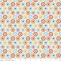 Tissu Lucky Star Cercle Etoilé coloris blanc 20 cm x 110 cm